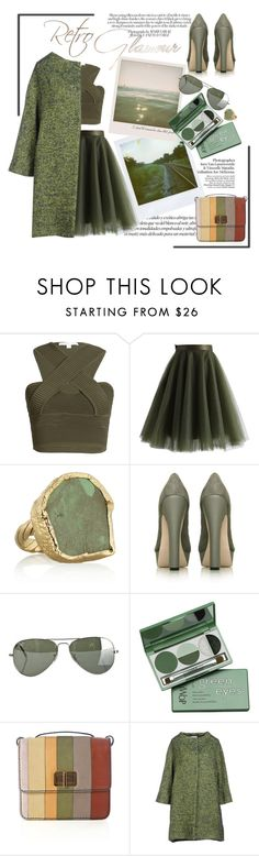"""retro glam"" by emcf3548 ❤ liked on Polyvore featuring Jonathan Simkhai, Chicwish, Dara Ettinger, Miss KG, Polaroid, Ray-Ban, DuWop, Chloé and Roberto Collina"