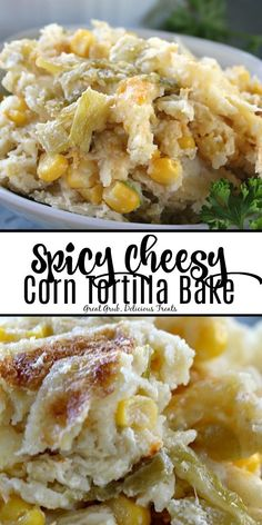 Spicy Cheesy Corn Tortilla Bake is made with two types of cheese corn green onions corn tortillas and topped with sour cream then smothered with a diced green chilies and buttermilk mixture. Corn Tortilla Casserole, Easy Tortilla Recipe, Green Chili Casserole, Corn Tortilla Recipes, Corn Recipes, Chicken Recipes, Recipes With Corn Tortillas, Tortilla Chips, Recipies