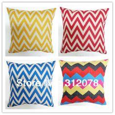 Chevron Zigged Wave Cotton Linen Cushion Cover Pillow Case  for Sofa Car Home Decoration, 4 pcs/set, 45*45CM