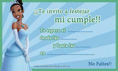 Tiana - Princesas de Disney - Tarjeta de cumpleaños para imprimir
