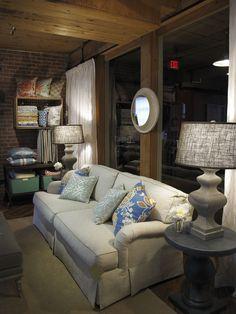 Thibaut Fine Furniture Showroom in High Point, located at #315 Historic Market Square. Seen here: Hampton Sofa in Huntley Herringbone #hpmkt