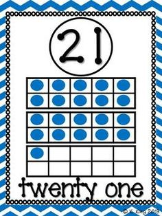 Here's a set of number cards from 21-30. Each poster includes the numeral, number word, and ten frame representation.