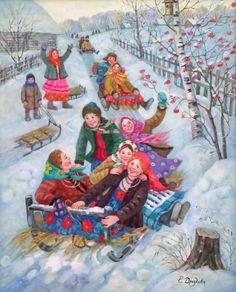 Christmas And New Year, Vintage Christmas, Christmas Holidays, Ukrainian Art, Christmas Pictures, Winter Holidays, Vintage Postcards, Cool Artwork, Art History
