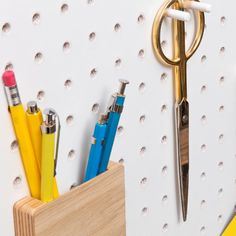 Buy Block PegBoard Accessories - Pen Pot from our Desk Organisers range at Red Candy, home of quirky decor. Wooden Pegboard, White Pegboard, Pegboard Craft Room, Ikea Pegboard, Pegboard Garage, Pegboard Display, Pegboard Organization, Kitchen Pegboard, Diy Peg Board
