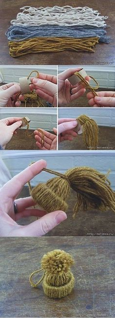 Mini Yarn Hats Ornaments Mini yarn hat ornaments are easy and fast to make. All it takes is cardboard rolls from paper towels or toilet paper, and slice into even sections. Next loop yarn through the cardboard and gather it at the end. Choose how large you want the hat to be and secure with …