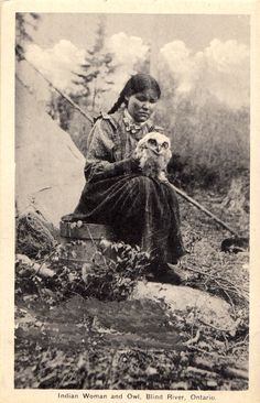 American Native Indian woman and owl, Blind River, Ontario