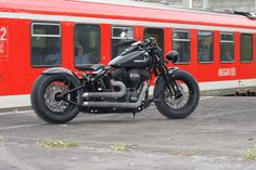 Customized Harley-Davidson Softail Cross Bones with custom rearfender and our aircleaner kit. Built by Thunderbike Customs Germany #harleydavidsonsoftailcrossbones