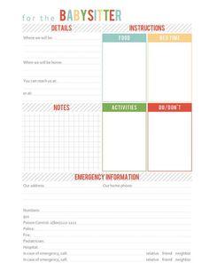 A Well-Feathered Nest: Printable Babysitter Information Sheet - Bild Archiv Babysitter Printable, Babysitter Checklist, Babysitter Notes, Babysitting Kit, Babysitting Activities, Babysitting Flyers, Baby Sitting, A Nanny, Life Hacks