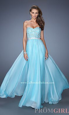 Floor Length Strapless La Femme Gown at PromGirl.com
