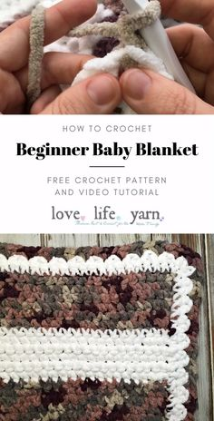 Anyone can crochet the Beginner Crochet Baby Blanket!  This close up video tutorial will walk you through every step - from how to hold the yarn and tie a slip knot to weaving in those pesky ends.  Download the FREE pattern pdf, too! #freecrochetpattern #crochetbabyblanket #beginnercrochetbabyblanket #crochetforbeginners