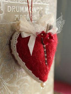 needle felted hearts in the shop today, just in time for Valentines day. each one is an original made with vintage millinery flowers an. Vintage Valentines, Be My Valentine, Valentine Hearts, Valentine Ideas, Valentines Day Birthday, Red Felt, Heart Decorations, Felt Hearts, Needle Felting