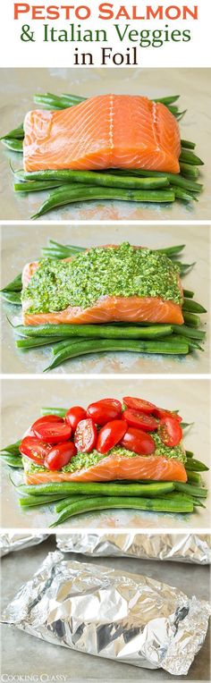 Pesto Salmon And Italian Veggies In Foil food baking recipe recipes dinner recipes salmon cooking