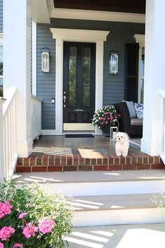 Looking to update your curb appeal on a budget? Here are 7 simple and easy ways to update your home's front entry for major curb appeal. Exterior sconce lighting ideas and before after photos. Coastal Cottage, Coastal Decor, French Country Decorating, Outdoor Wall Sconce, House Exterior, Front Door, House Painting, House Paint Exterior, Curb Appeal