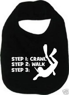 crawl walk scuba dive diver diving custom  baby infant bib color choice pink blue black white shower sports gift idea