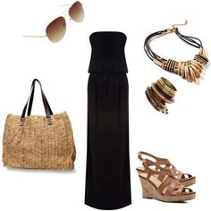 How to wear a black maxi dress with a woven beach bag, wedge sandals, statement jewelry and aviator sunglasses