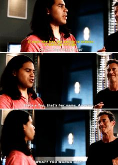 """Top! Like a Top! She's a Top, that's her name. Amazing. WHAT? YOU WANNA GO?!"" - Cisco and Wells #TheFlash"