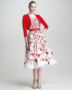 Sleeveless Full Skirt Dress by Oscar de la Renta