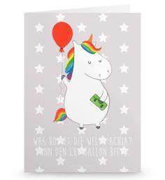 Grußkarte Einhorn Luftballon aus Karton 300 Gramm  weiß - Das Original von Mr. & Mrs. Panda.  Die wunderschöne Grußkarte von Mr. & Mrs. Panda im Format Din Hochkant ist auf einem sehr hochwertigem Karton gedruckt. Der leichte Glanz der Klappkarte macht das Produkt sehr edel. Die Innenseite lässt sich mit deiner eigenen Botschaft beschriften.    Über unser Motiv Einhorn Luftballon  Ein Einhorn Edition ist eine ganz besonders liebevolle und einzigartige Kollektion von Mr. & Mrs. Panda. Wie…