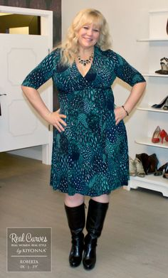 Flatter your curves in this body-skimming wrap dress. Order this plus size flattering wrap dress in a variety of colors online now at Kiyonna Clothing. Plus Size Dresses, Plus Size Outfits, Wrap Dress, Dress Up, Plus Size Looks, Costume, Dress With Boots, Skirt Fashion, Plus Size Women