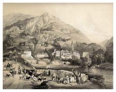 Azpeitia en Guipuzcoa desde el camino de Tolosa-España artística y monumental..Tomo III- 1842-1850-Genaro Perez de Villa-Amil. Cortesía: Cesar Ojeda, Las Palmas de Gran Canaria (España).