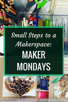 It's important to build a maker culture within your library when you start a makerspace. One great way to do this is to start Maker Mondays, where you have different maker activities available each week. Stem Learning, Project Based Learning, Learning Spaces, Magnet School, Interactive Activities, Steam Activities, Recycled Books, Maker Culture, School Librarian