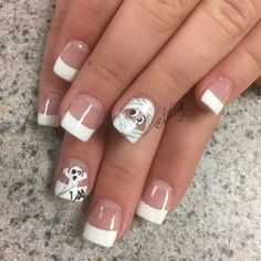 Nail art with Spooky Goblin on white nail tips