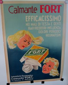 Vintage Poster Italian Pharmacy Advertisement 1950s by VistaChick, $95.00