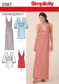Womens Dress & Gown Cynthia Rowley pattern 2587 Simplicity