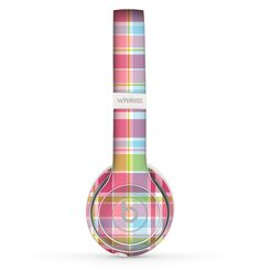 The Yellow & Pink Plaid Skin Set for the Beats by Dre Solo 2 Wireless Headphones