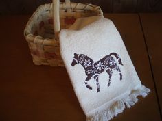 Floral Horse Embroidered Towel by MillineryMary on Etsy