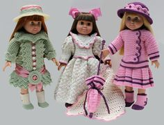 Crochet Dolls Patterns Victorian crochet American Girl doll clothes pattern -- love the pink and black contrast American Girl Outfits, American Doll Clothes, Ag Doll Clothes, American Dolls, Crochet Doll Dress, Crochet Doll Clothes, Crochet Doll Pattern, Crochet Outfits, Crochet Patterns