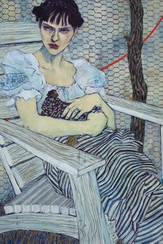Hope Gangloffproduces very contemporary portraits and compositions with figures particularly in her portrayal of men. Hope mainly uses her friends as models I love the clash and bang of her fabrics and patterns, thatcacophonyof pattern that surrounds her pale models.
