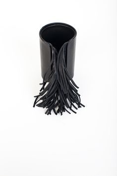 // natalia brilli leather fringed cuff