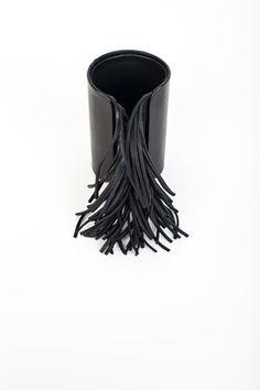 Natalia Brilli leather fringed cuff
