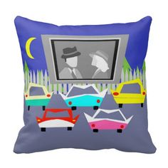 Shop Small Town Drive-In Movie Throw Pillow created by StrangeLittleOnion. Life In The 1950s, Royal Blue Background, Red And Pink, Black And White, Drive In Movie Theater, Customized Girl, Cedar Trees, Golden Age Of Hollywood, Retro Cars