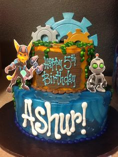 Ratchet and Clank Cake! Buttercream with fondant accents.