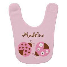 Pink Ladybug Baby Bib