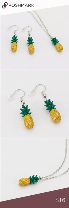 Pineapple earrings & necklace set hook style Super cute pineapple earrings and necklace set hook style must have Jewelry Necklaces