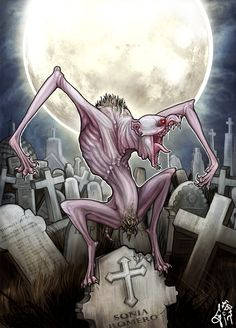 Luison- Guarani myth: a son of tau and kerena. It was a dirty, hairy, and sticky half man, half canid creature. It constantly reeked of death and decay. It lived in cemeteries and only ate dead and rotting flesh.