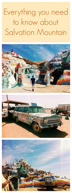Great tips on how to take a road trip to see Salvation Mountain. This quirky oasis is in Niland, California - learn more about the off-the-grid 'slab-city' it's right next to!
