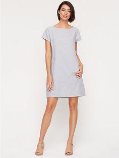 Petite Bateau Neck Dress in Hemp & Organic Cotton Mini-Stripe Chambray