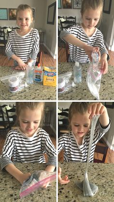 How To Make Glitter Slime That Isn't Sticky. This is great for birthday parties, class activities, or sensory learning activities. The glitter also doesn't get everywhere! #glitterslime #slime #slimerecipe