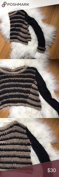 Free People striped sweater Black and ran, woven, cropped sweater Free People Sweaters Crew & Scoop Necks
