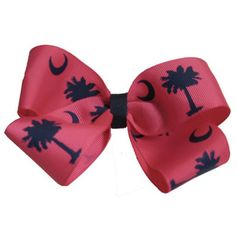 Large South Carolina Flag Palmetto Moon Navy Hair Bow @Etsy