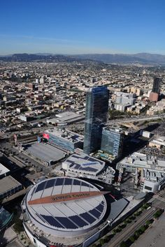 The Staples Center and LA Live on a clear day from our helicopter