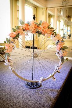 Pink and grey #bicycle wheel wreath #bicyclewedding