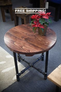 Round Industrial End Table End Table With Black Metal Pipe Legs Rustic End Farmhouse End Tables, Rustic End Tables, Diy End Tables, Coffee And End Tables, Solid Wood Dining Table, Round End Tables, Pipe Furniture, Industrial Furniture, Furniture Projects