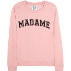 Zoe Karssen Madame cotton-blend terry sweatshirt ($63) ❤ liked on Polyvore featuring tops, hoodies, sweatshirts, sweaters, shirts, pink top, pattern shirt, pink shirts, stitch shirt and patterned tops