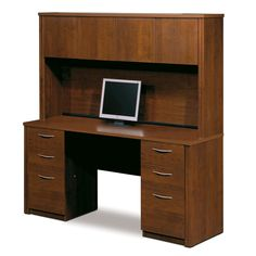 Bestar Furniture Embassy Credenza and Hutch Kit Including Assembled Pedestal with Scratch and Stain Resistant Surface and Simple Pulls in Tuscany Brown Computer Desk With Hutch, Desk Hutch, Computer Desks, Home Office Desks, Home Office Furniture, Furniture Ideas, Furniture Design, Hooker Furniture, Furniture Outlet