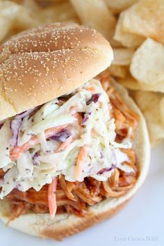 Easy Creamy Coleslaw recipe perfect for Summer parties and cookouts!via LoveGrowsWild.com #recipe